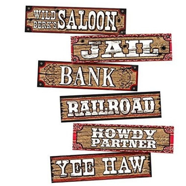Way Out West Wall Signs Pk 6