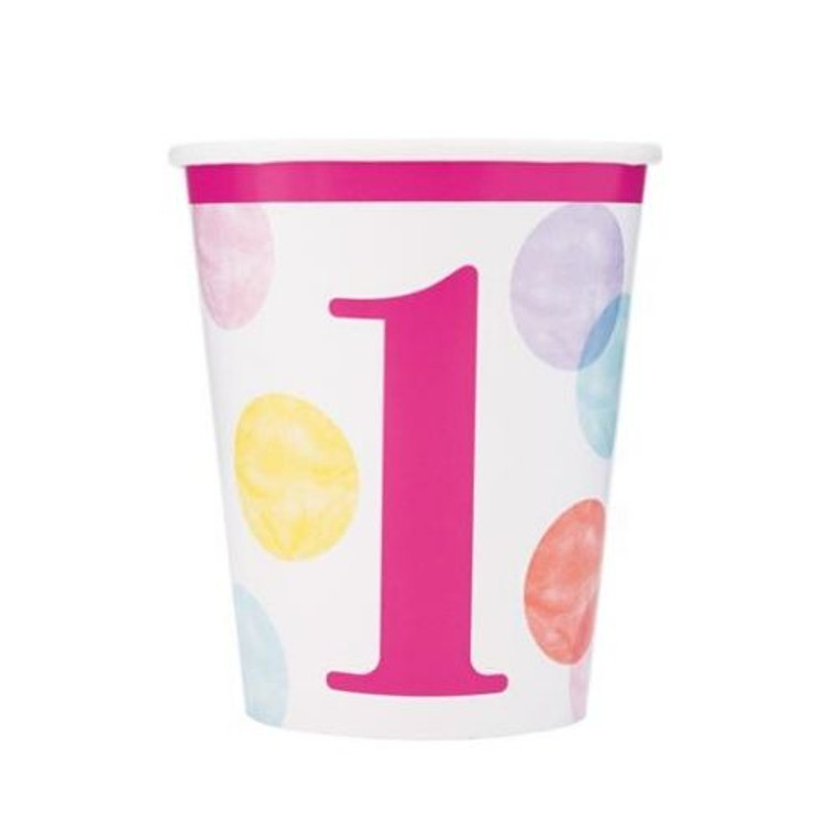 1st Birthday Pink Dots Cups - Pk8