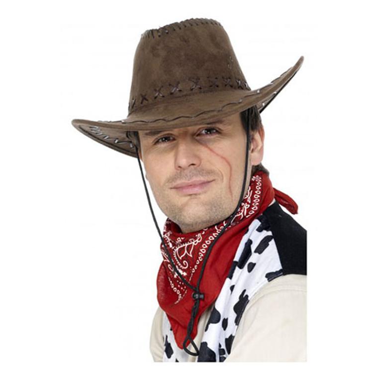 Western Cowboy Hat - Suede Look Brown