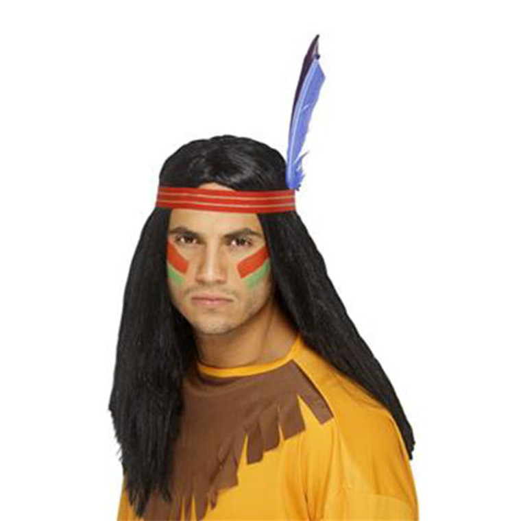 Mens Black Indian Brave Wig