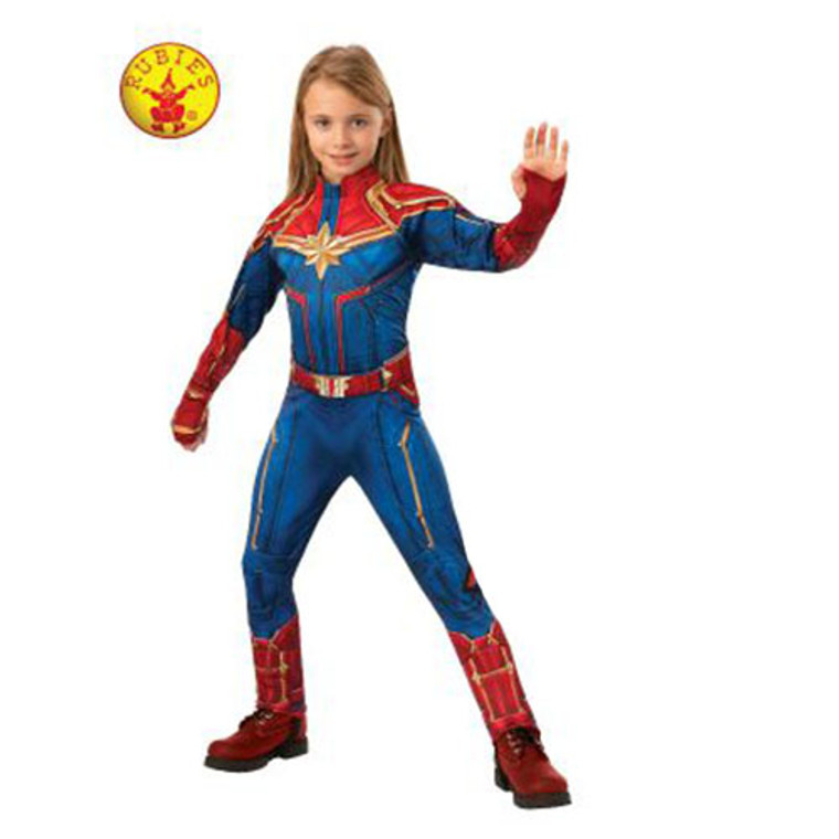 Captain Marvel Deluxe Kids Costume By Rubies Discount Party Warehouse Captain marvel is a believer in truth and justice but also fights between the aggressiveness and quick tempered character that is within her. discount party warehouse