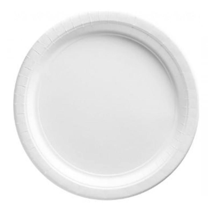 White Round Paper Dinner Plates 20 Pack