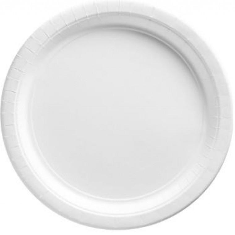White Round Paper Banquet Plates 20 Pack