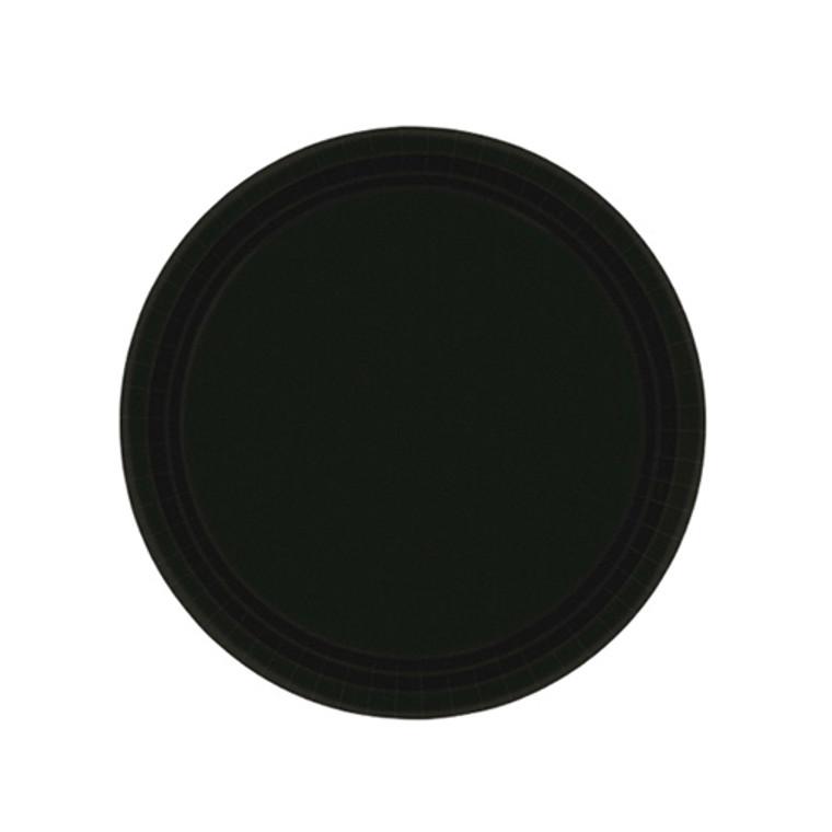 Black Round Paper Dessert Plates 20 Pack