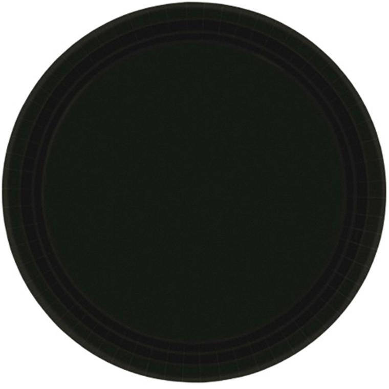 Black Round Paper Banquet Plates 20 Pack