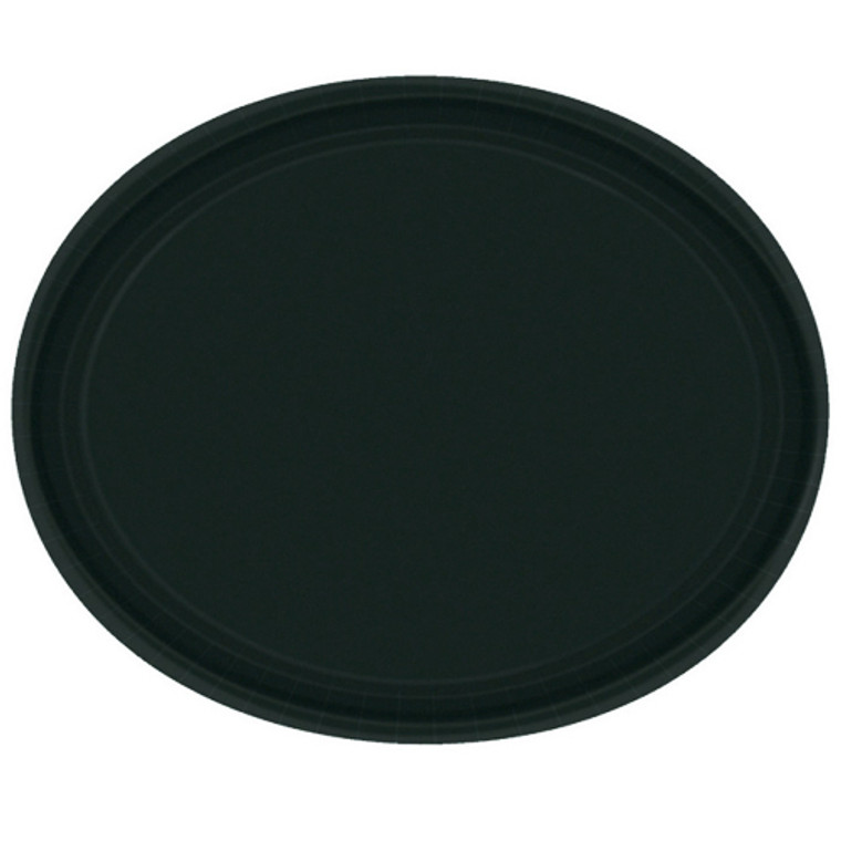 Black Oval Paper Plates 20 Pack