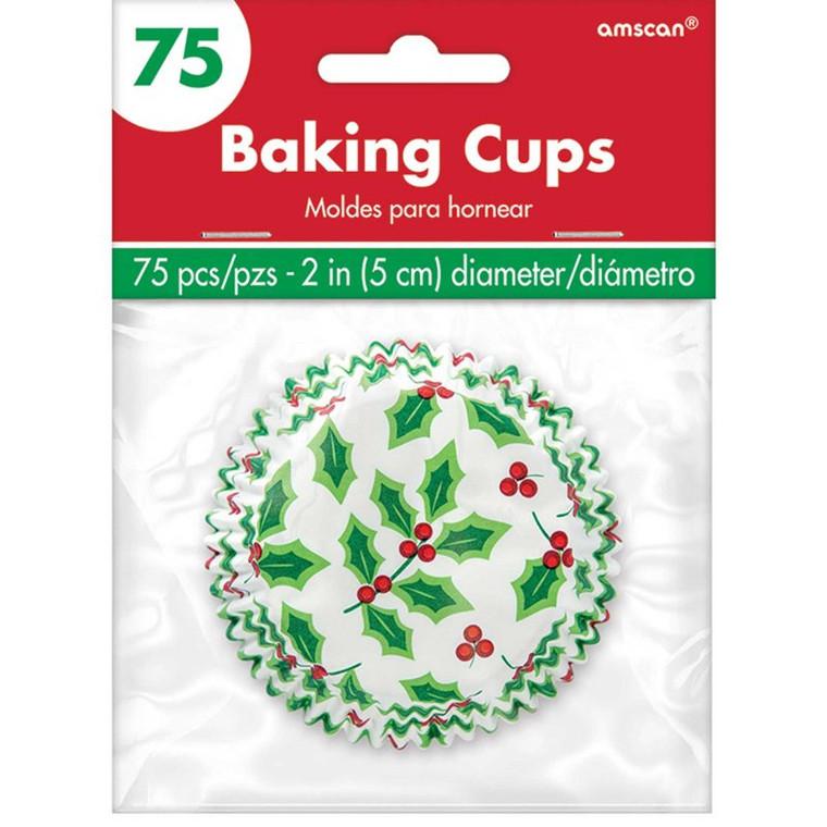 Christmas Holly Design Cupcake Cases Pk 75