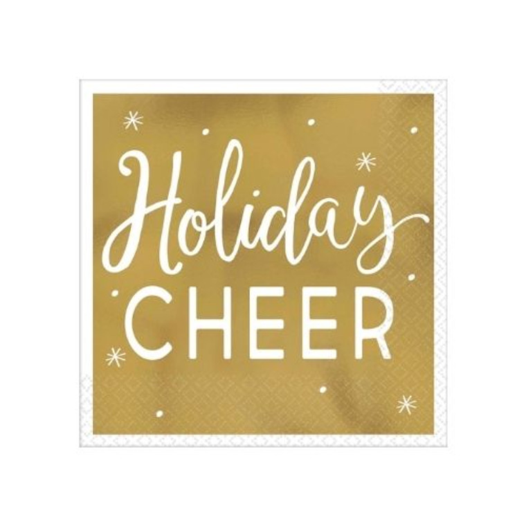 Holiday Cheer Gold Cocktail Napkins