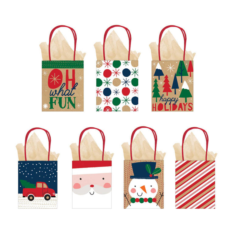 Oh What Fun Small Gift Bag - Pk 7