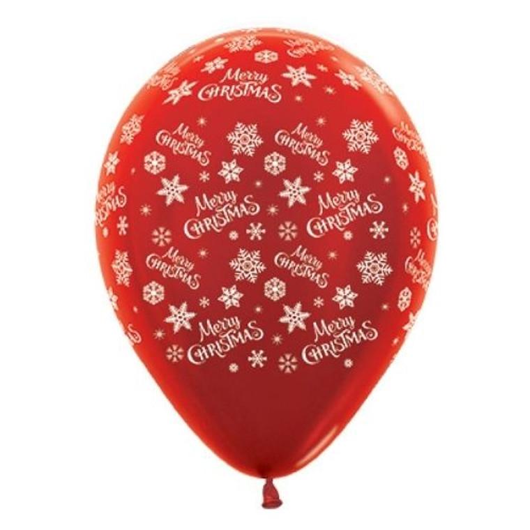 Metallic Red Merry Christmas Latex Balloons 30cm