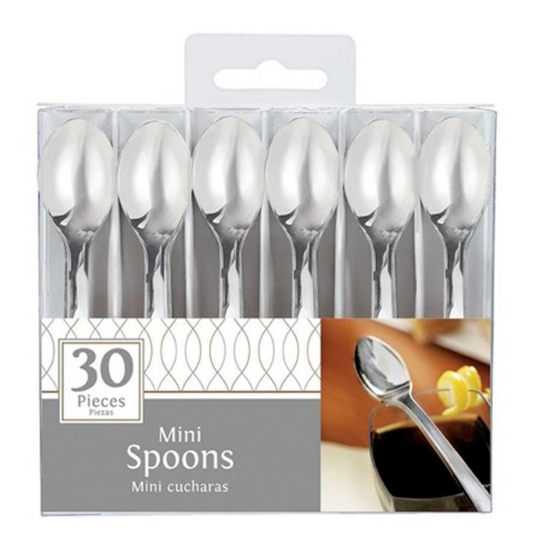 Silver Mini Spoons Pk 30