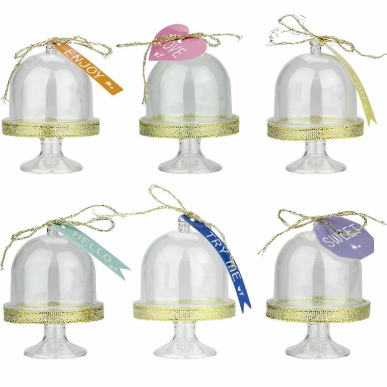Mini Cake Domes Pk6 Decorated