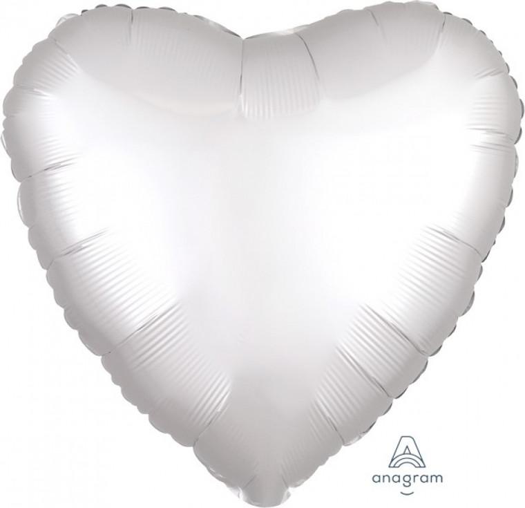 Satin Heart Foil Balloon - White 45cm