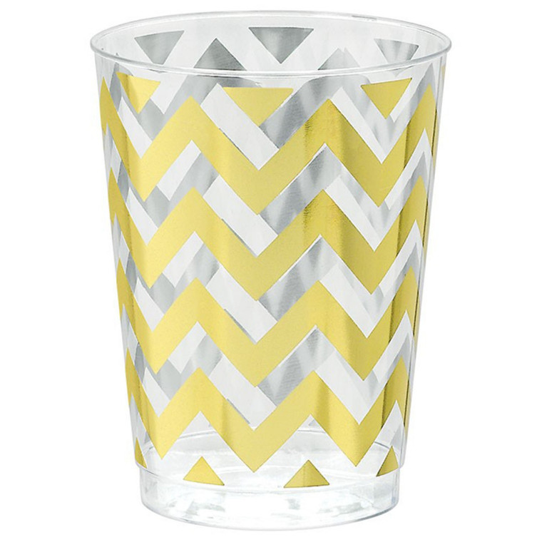Premium Chevron Tumblers 295ml - Gold Pk20