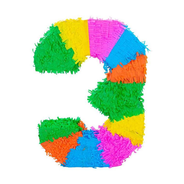 Number 3 Pinata - Multicolour