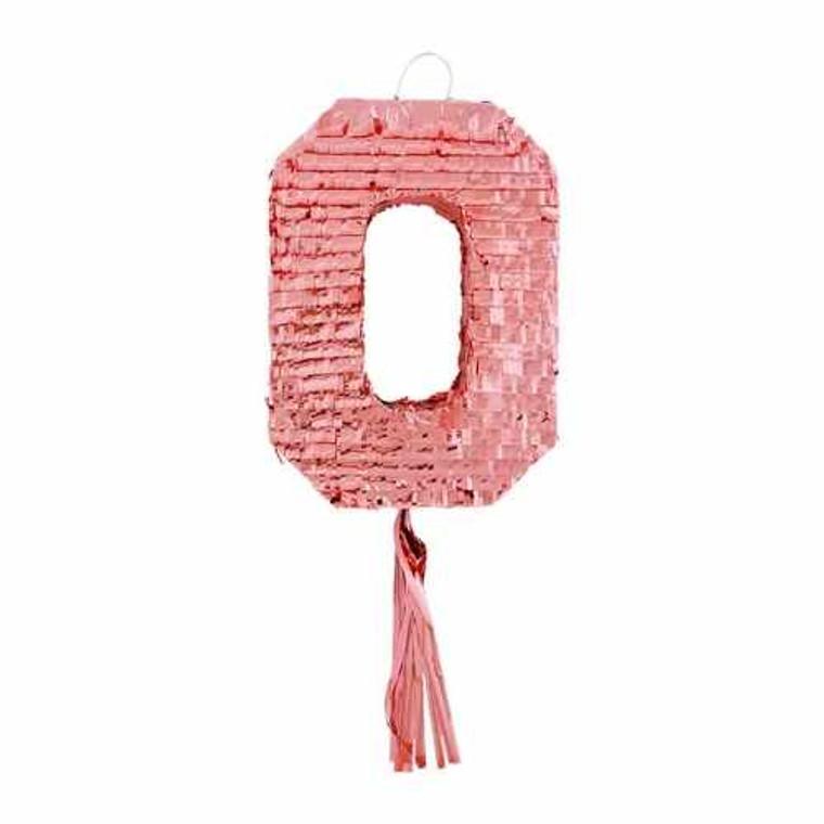 Number 0 Pinata - Rose Gold