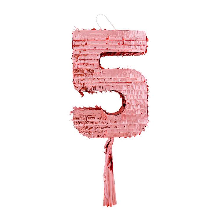 Number 5 Pinata - Rose Gold