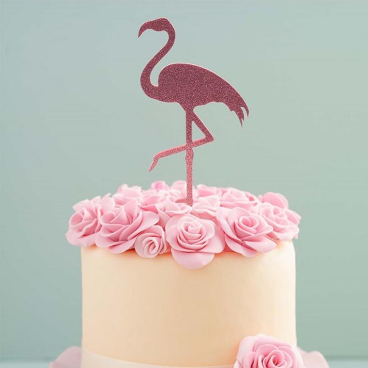 Flamingo Acrylic Cake Topper - Pink