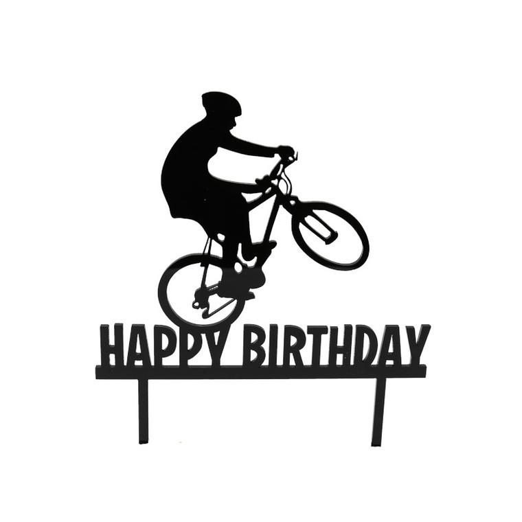 Happy Birthday Bike Cake Topper - Black