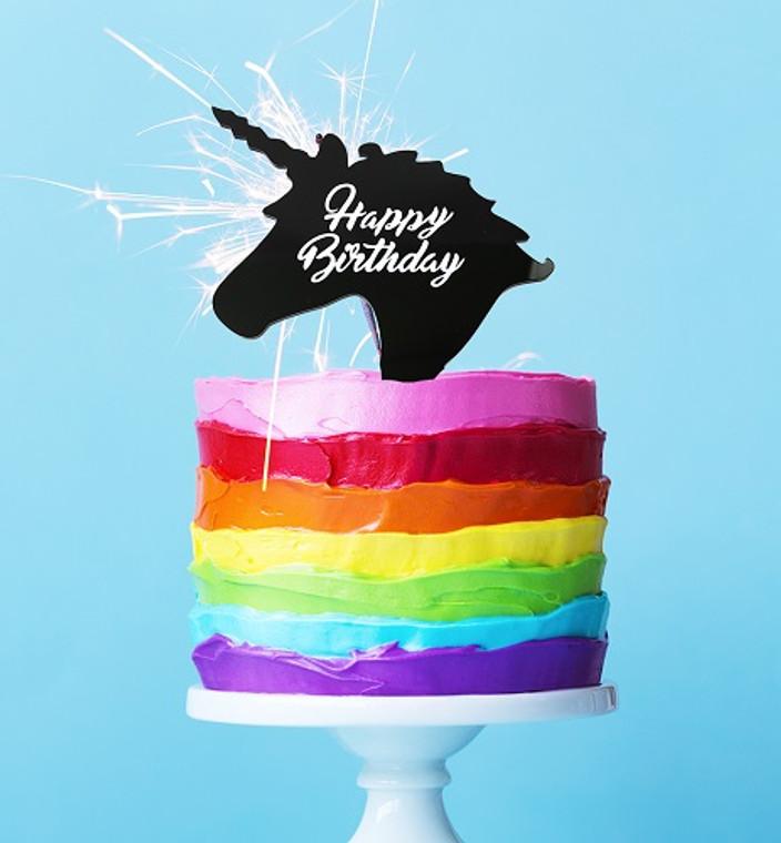 Happy Birthday Acrylic Unicorn Cake Topper - Black