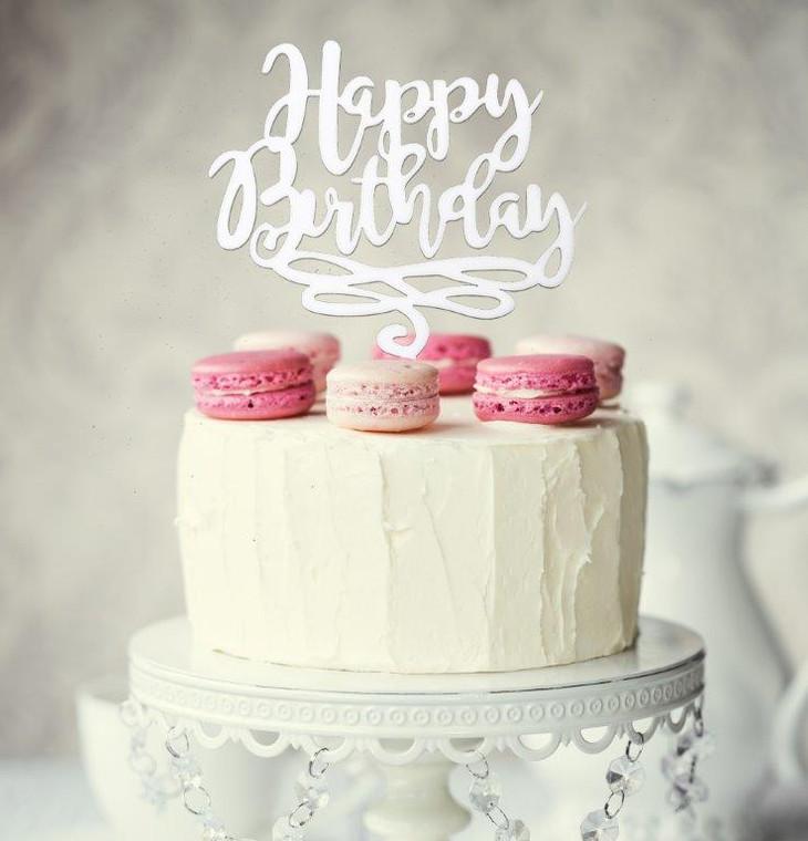 Happy Birthday Acrylic Cake Topper - White