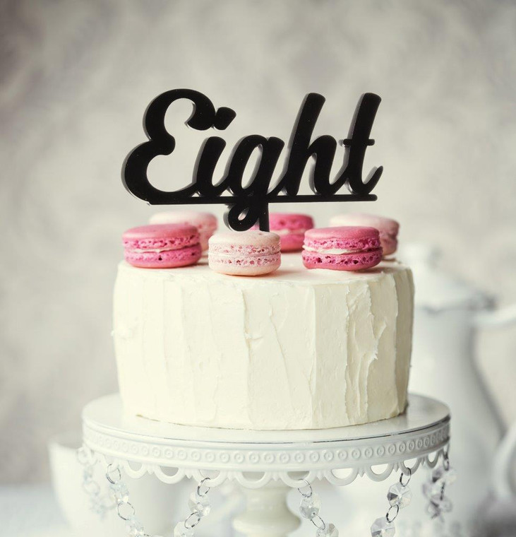 """Eight"" Acrylic Cake Topper - Black"