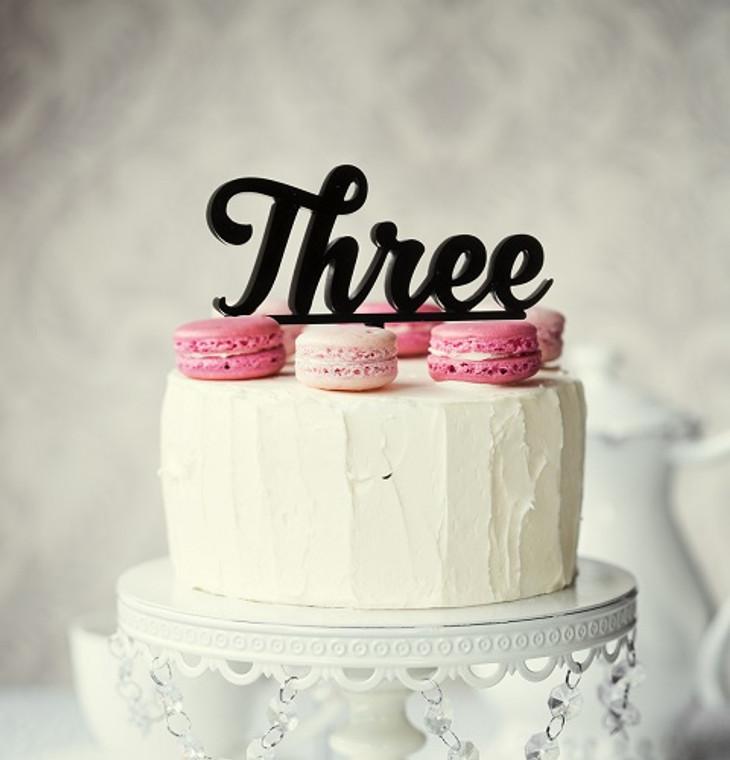 """Three"" Acrylic Cake Topper - Black"