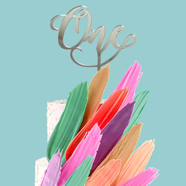 """""""One"""" Acrylic Cake Topper - Silver"""