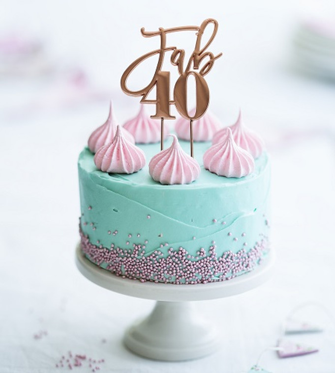 """Rose Gold Cake Topper """"Fab 40"""""""
