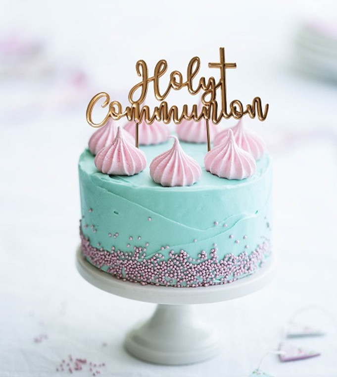 Rose Gold Communion Cake Topper