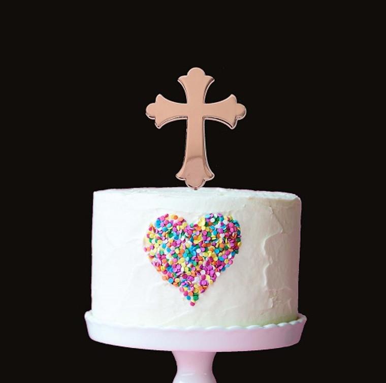 Rose Gold Cake Topper - Cross