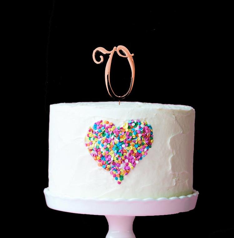 Rose Gold Cake Topper Letter V