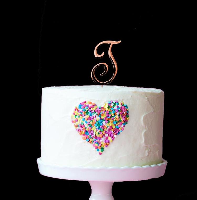 Rose Gold Cake Topper Letter T