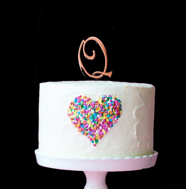 Rose Gold Cake Topper Letter Q