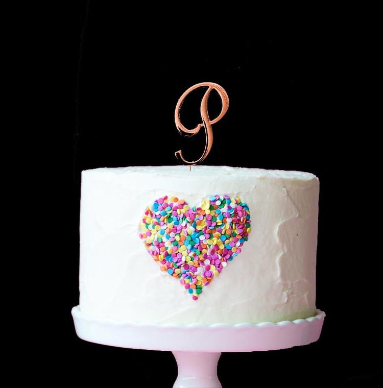Rose Gold Cake Topper Letter P