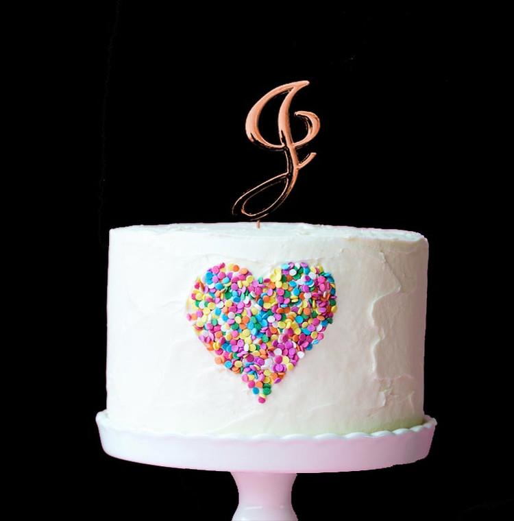 Rose Gold Cake Topper Letter J