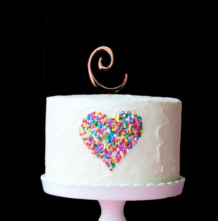 Rose Gold Cake Topper Letter C