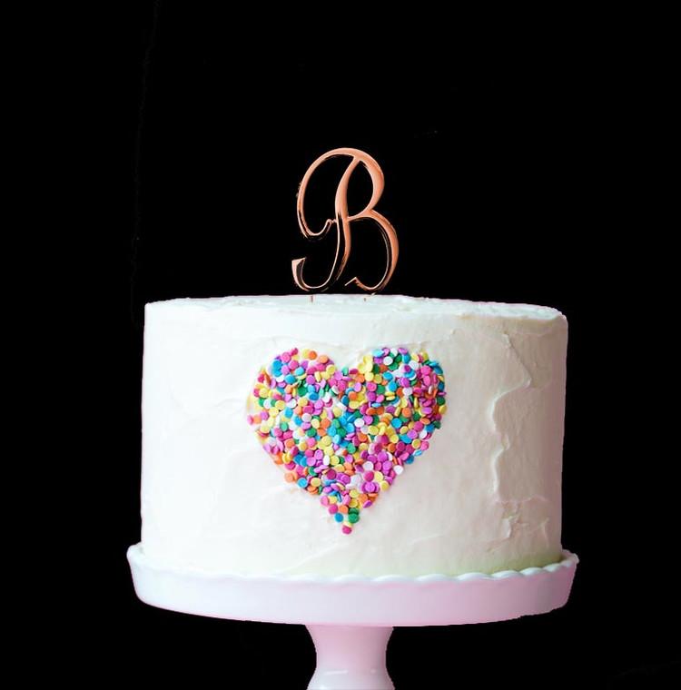 Rose Gold Cake Topper Letter B