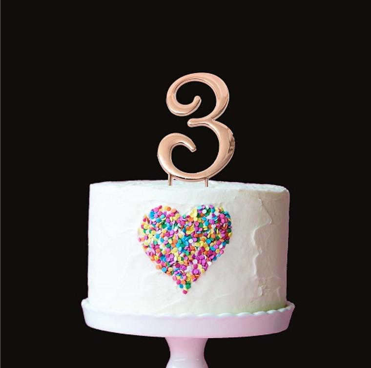 Rose Gold Cake Topper Number 3