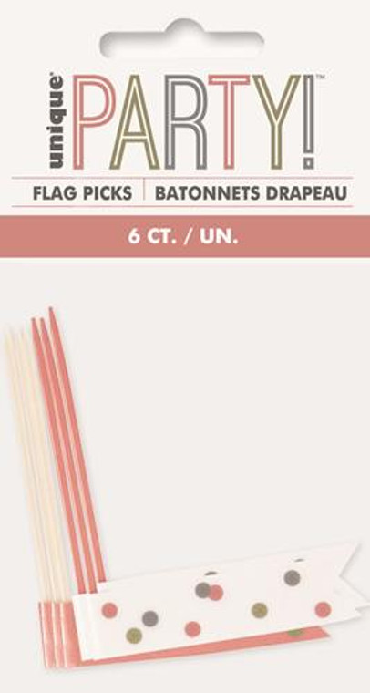 Rose Gold Glitz  Flag Picks 6pk
