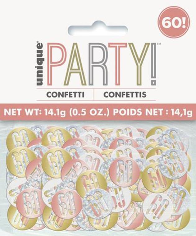Rose Gold Glitz 60th Birthday Foil Confetti 14g