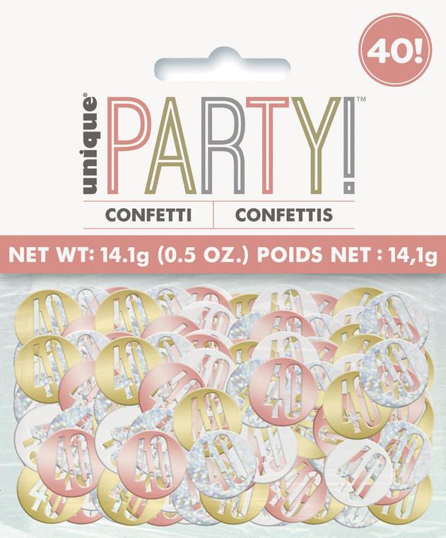 Rose Gold Glitz 40th Birthday Foil Confetti 14g