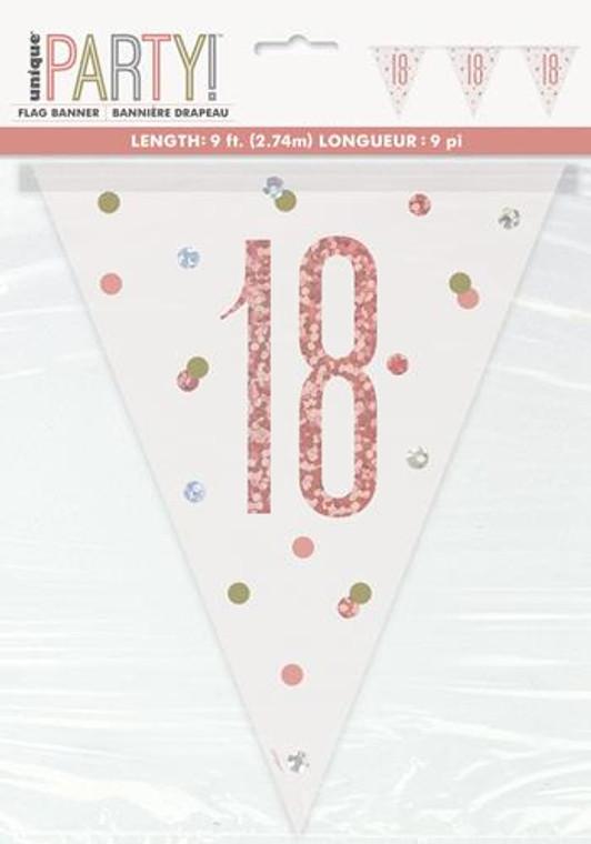 Rose Gold Glitz Prismatic Foil 18th Birthday Flag Banner