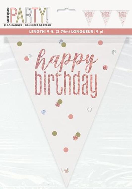 Rose Gold Glitz  Prismatic Foil Happy Birthday Flag Banner