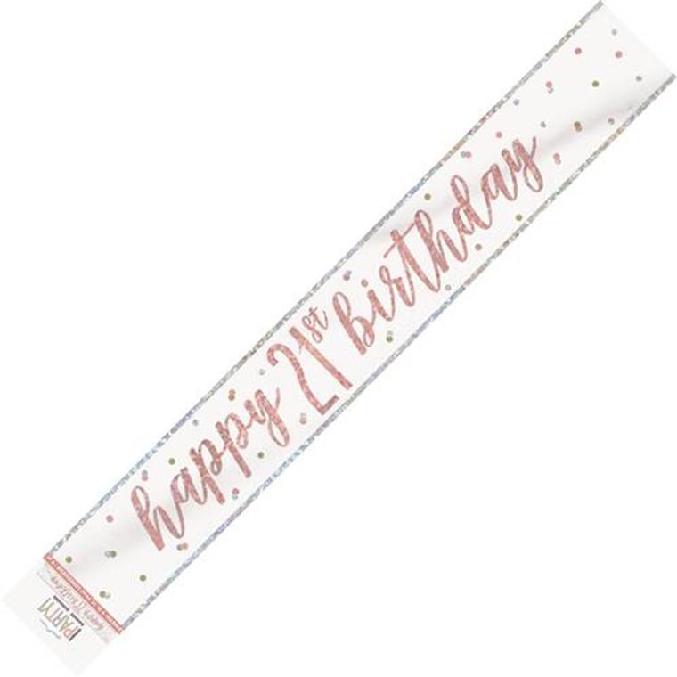 Rose Gold Glitz Foil Banner - Happy 21st Birthday Prismatic