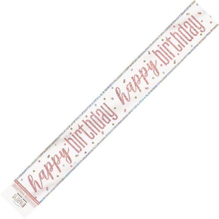 Rose Gold Glitz Foil Banner - Happy Birthday Prismatic