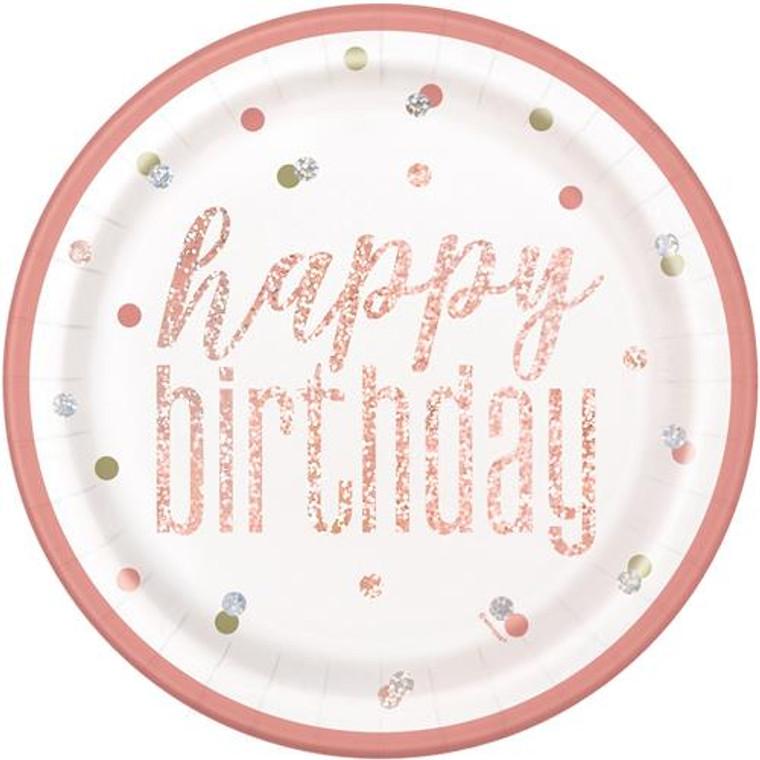 Rose Gold Glitz Prismatic Happy Birthday Dinner Plates 8pk