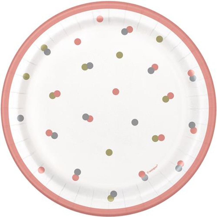 Rose Gold Glitz Dot Dessert Plates 8pk