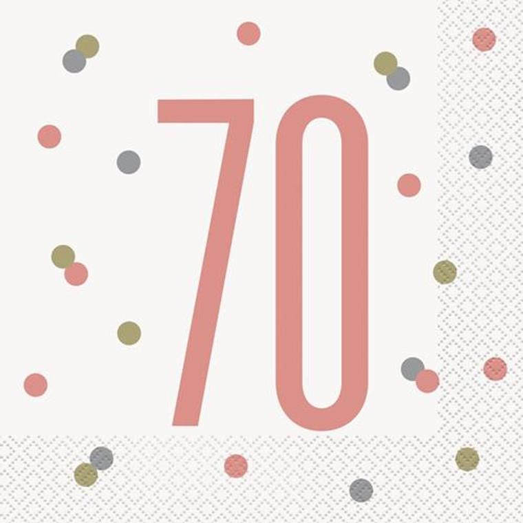Rose Gold Glitz 70th Birthday Lunch Napkins 16pk