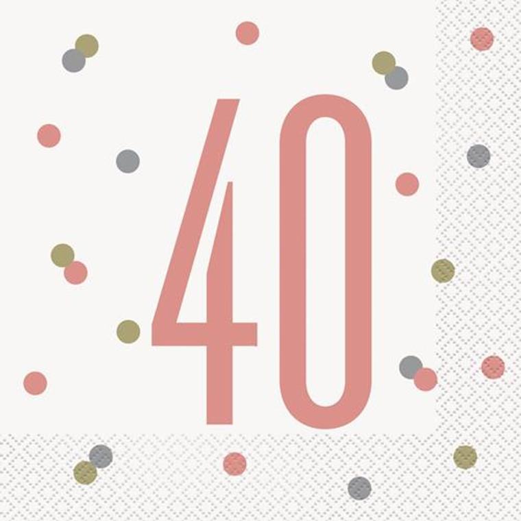 Rose Gold Glitz 40th Birthday Lunch Napkins 16pk